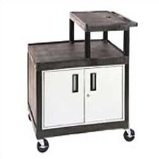 Stand-Up AV Cart for Large Overhead Projectors with Locking Cabinet (Set of 4)