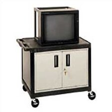 High Open Shelf Endura Video Table with Locking Cabinet