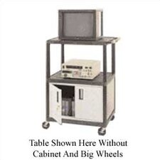 High Low Priced Table with Locking Cabinet/Big Wheels