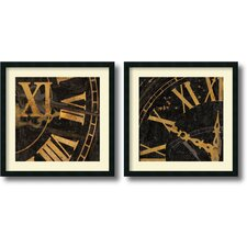 'Roman Numerals' by Russell Brennan 2 Piece Framed Graphic Art Set