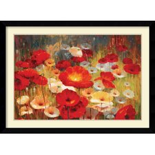 'Meadow Poppies I' by Lucas Santini Framed Painting Print