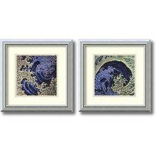 'Masculine Wave, Feminine Wave' by Katsushika Hokusai 2 Piece Framed Art Print Set