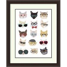 Cats with Glasses by Hanna Melin Framed Painting Print