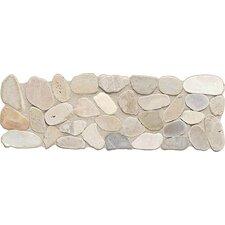 "Highland Ridge 12"" x 4"" Decorative Border Tile in Light Riverstone Pebble"