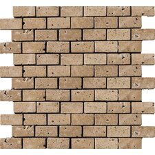 "Natural Stone 1"" x 2"" Travertine Subway Tile in Mocha"