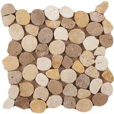 Random Sized Travertine Pebble Tile in Beig/Mocha