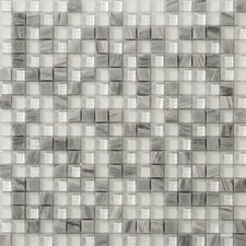 Lucente Glass Mosaic Tile in Grey/White
