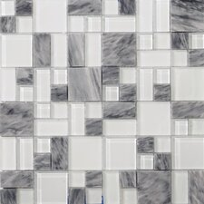 Lucente Grazia Random Sized Glass Mosaic Tile in Gray/White