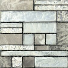 Vista Random Sized Glass Splitface Tile in Silver