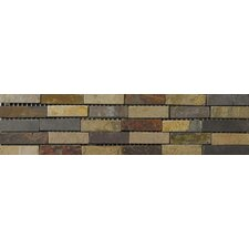 "Natural Stone 12"" x 4"" Slate Border 23 Listello in Multicolor"