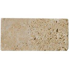 "Natural Stone 3"" x 6"" Travertine Subway Tile in Mocha"