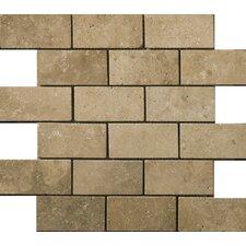 "Natural Stone 2"" x 4"" Travertine Subway Tile in Mocha"