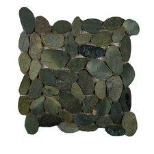 Rivera Random Sized Natural Stone Pebbles Tile in Olive