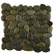 Rivera Random Sized Pebble Tile in Olive