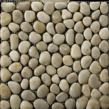 Natural Stone Random Sized Pebble Tile in Cream