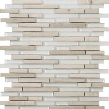 Lucente Random Sized Glass and Stone Mosaic Tile in Andrea Linear