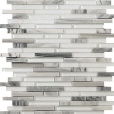 Lucente Random Sized Glass and Stone Mosaic Tile in Grazia Linear