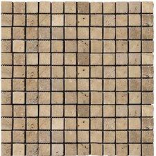 "Natural Stone 1"" x 1"" Travertine Mosaic Tile in Mocha"