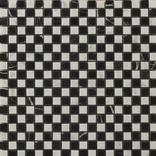 "Natural Stone 0.5"" x 0.5"" Marble Mosaic Tile in Bianco Gioia/Black"