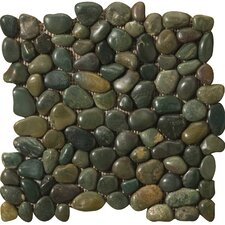 Natural Stone Rivera Random Sized Marble Pebble Tile in Green