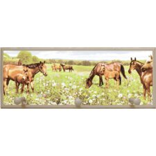 Peaceful Horses Painting Print on Plaque with Pegs