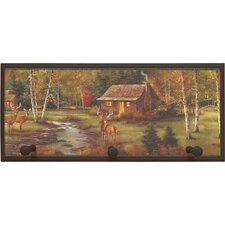 Rustic Cabin Painting Print on Plaque with Pegs