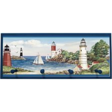 Lighthouse/Sailboat Graphic Art on Plaque with Pegs