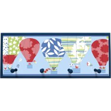 Hot Air Balloon Framed Graphic Art with Pegs