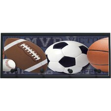 Mixed Sports Balls Wall Graphic Art on Plaque with Pegs