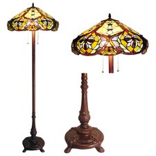 Tiffany Style Victorian Floor Lamp with 636 Glass Pieces