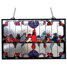 Tiffany Gathering Birds Window Panel