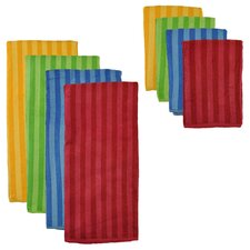 Primary Stripe Microfiber 8 Piece Towel Set