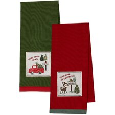 2 Piece Dashing Through The Snow & O' Christmas Tree Embellished Dishtowel Set