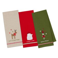 3 Piece Santa!, Elf, & Rudolph Embellished Dishtowel Set