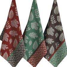 Fall Feathers Leaf Deco Jacquard Dishtowel (Set of 3)