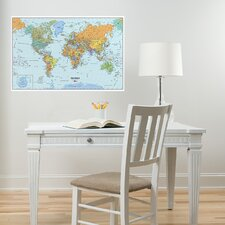 World Dry-Erase Map Wall Mural