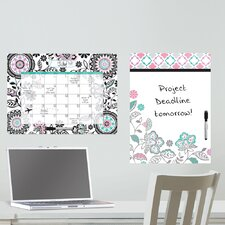 Dry Erase Floral Medley Message and Calendar Chalkboard Wall Decal