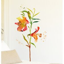 Home Decor Line Watercolor Flowers Wall Decal