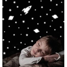 Home Decor Line Rocket and Stars Glow in The Dark Wall Decal