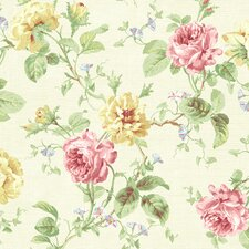 "Willow Cottage 33' x 20.5"" Rose Trail Floral Embossed Wallpaper"