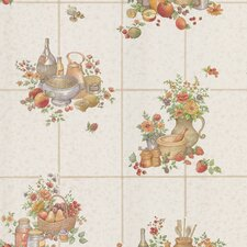 """Kitchen and Bath Resource II 33' x 20.5"""" Food and Floral Embossed Wallpaper"""