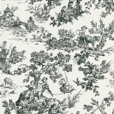 "Ink 33' x 20.5"" Toile Embossed Wallpaper"