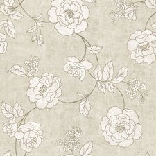 "Serene 33' x 20.5"" Rose Floral and Botanical Embossed Wallpaper"