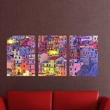 """""""Euro Colorful Town"""" 3 Piece Panoramic Wall Decal Set"""