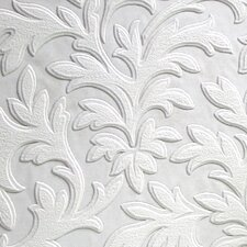 "Anaglypta Paintable 33' x 20.5"" High Leaf Scroll Embossed Wallpaper"