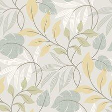 """Simple Space II Eden Modern Leaf Trail 33' x 20.5"""" Floral Embossed Wallpaper"""