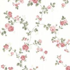 "Claremont Cornelia Rose Trail 33' x 20.5"" Floral Embossed Wallpaper"