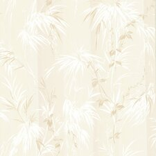 "Kitchen & Bath Resource III Merrick Satin Leaf Motif 33' x 20.5"" Floral Embossed Wallpaper"