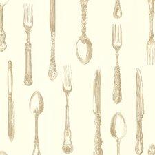 "Kitchen & Bath Resource III Price Vintage Silverware 33' x 20.5"" Food and beverage Embossed Wallpaper"