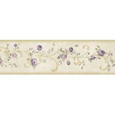 """Borders by Chesapeake Betty Tearose Acanthus Trail 15' x 6"""" Floral Embossed Border Wallpaper"""